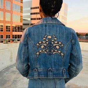 Jackets & Blazers - Embroidered denim motorcycle jacket